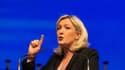 Marine Le Pen lors d'un meeting à Marseille, samedi 16 mars.