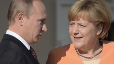 Vladimir Poutine et Angela Merkel le 5 septembre 2013, lors du G20 à Saint-Pétersbourg.