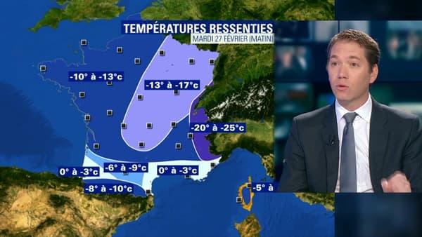 Jusqu'à -25 degrés sont attendus mardi en température ressentie.