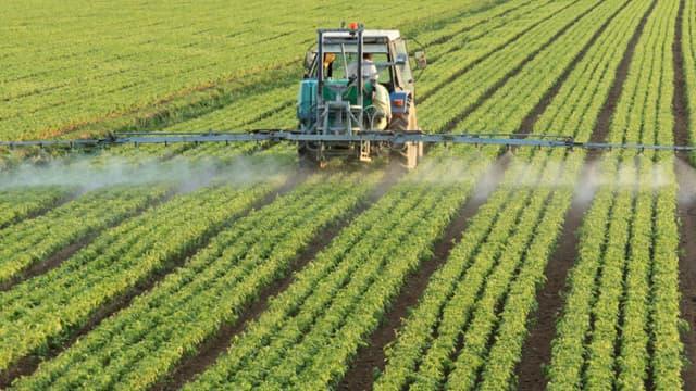 Image d'illustration d'un tracteur épandant des pesticides