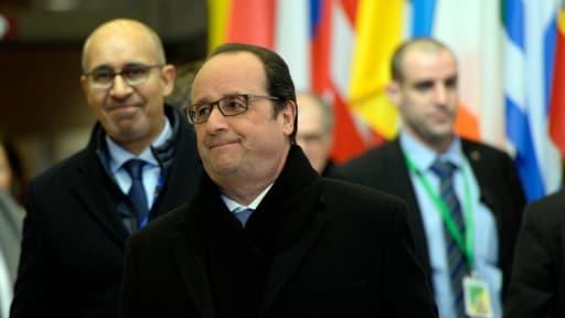 Le président François Hollande à l'issue d'un sommet sur la crise migratoire le 8 mars 2016 à Bruxelles