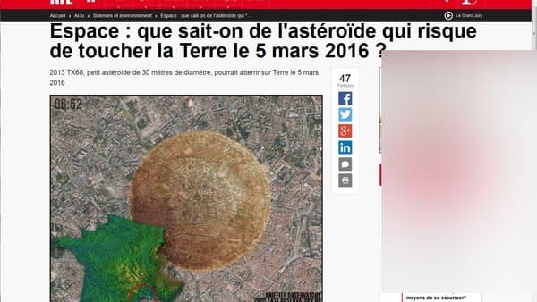 Le faux article de RTL faisant état de la prochaine collision et créé avec clonezone. Averstissement: la publicité pornographique a été floutée.
