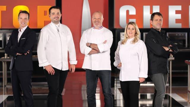 L'animateur de Top Chef, Stéphane Rotenberg et le Jury de l'émission: Jean-François Piège, Philippe Etchebest, Hélène Darroze et Michel Sarran.