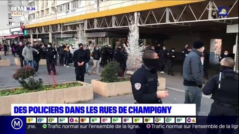 Champigny: des policiers déambulent dans les rues après les propos de Macron sur les contrôles au faciès