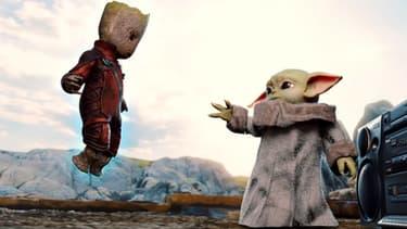 Baby Groot et Baby Yoda