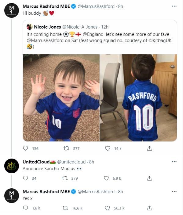 Le tweet de Rashford pour recruter Sancho