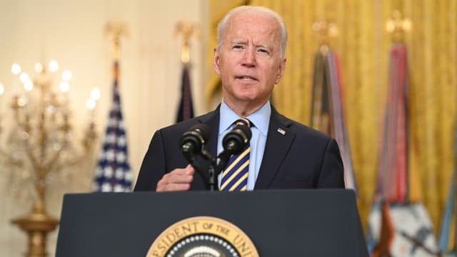 Le président américain Joe Biden lors d'une déclaration sur la situation en Afghanistan, le 8 juillet 2021 à la Maison Blanche, à Washington (États-Unis).