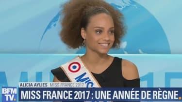 Alicia Ayliès, Miss France 2017 sur le plateau de BFMTV, le 14 décembre 2017