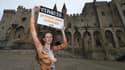 La mannequin brésilienne Julianna Marques a manifesté nue à Avignon, dans le Vaucluse, le 11 février 2017, pour défendre les animaux.