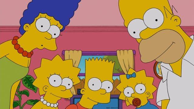 Marge, Lisa, Bart, Maggie et Homer Simpson.