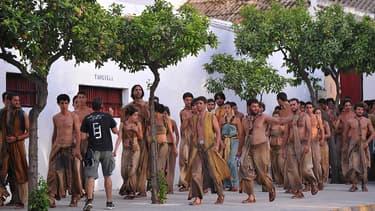 """Des figurants de la série """"Game of Thrones"""", en Espagne, le 22 octobre 2014."""