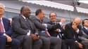 De gauche à droite, le président gabonais Ali Bongo, Marwan Lahoud, directeur de la stratégie d'Airbus Group, François Hollande, Eric Trappier et Serge Dassault dirigeants de Dassault.