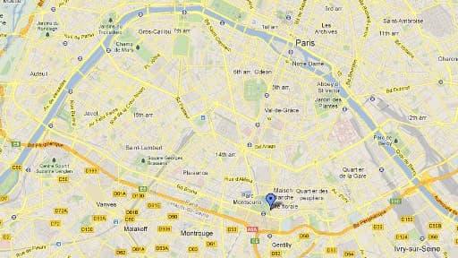 L'accident a eu lieu à l'angle de la rue Liard et du parc Montsouris, dans le 14ème arrondissement de Paris.