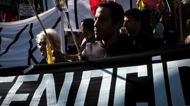 Une manifestation contre l'Etat islamique (EI) en Irak et en soutien aux populations irakiennes persécutées par l'EI, le 23 août 2014 à l'ONU.