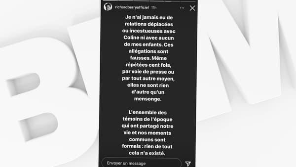 Richard Berry a démenti les accusations d'inceste d'une de ses filles, dans une story Instagram publiée le 2 février 2021.