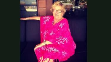 """Elyette Boudou, surnommée """"mamie Rock"""", la grand-mère de Laeticia Hallyday."""