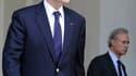 Alain Juppé à la sortie du conseil des ministres, mercredi. Le ministre des Affaires étrangères se dit optimiste quant aux résultats du vote du projet de résolution visant à autoriser une intervention pour stopper la répression des insurgés en Libye. /Pho
