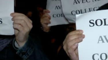 Une manifestation de policiers mardi 18 octobre à Évry, dans l'Essonne