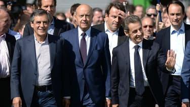 De gauche à droite, François Fillon, Alain Juppe et Nicolas Sarkozy lors de l'université d'été des Républicains, le 5 septembre 2015.
