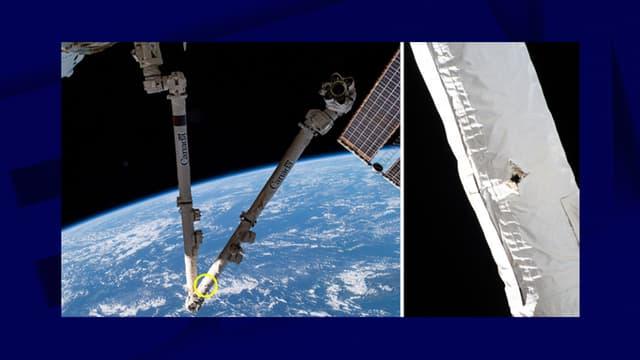 Le trou dans le bras de l'ISS