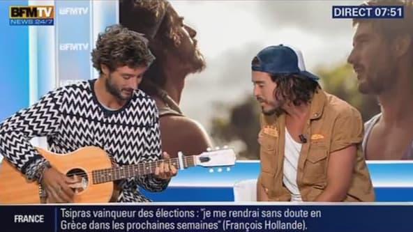 Le groupe Fréro Delavega sur le plateau de BFMTV.
