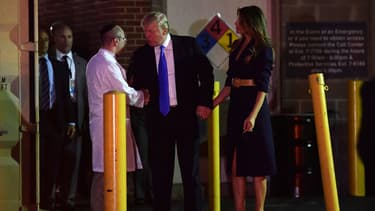 Donald Trump sort de l'hôpital MedStar après avoir rendu visite à l'élu blessé, le 14 juin, à Washington.