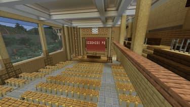 Le grand amphithéâtre de Sciences Po, reconstitué dans le jeu de construction Minecraft.