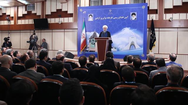 Hassan Rohani, président de l'Iran, a pris la parole le 5 novembre 2019 à l'occasion de l'ouverture d'une centrale à Téhéran