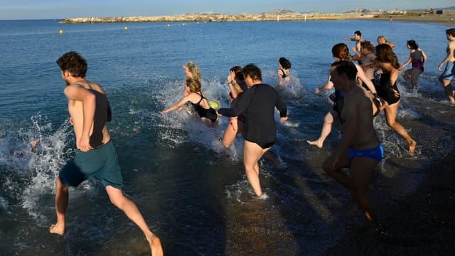 Une trentaine de personnes dont une championne de surf ont plongé dans la Méditerranée samedi matin à Marseille réclamant l'encadrement du chalutage de fond