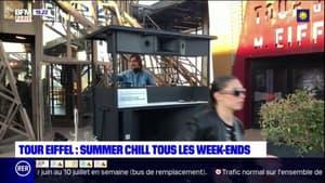 """La terrasse de la Tour Eiffel accueille un """"rooftop"""" jusqu'à fin août avec des DJ sets les vendredis et samedis"""