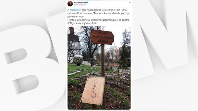 Alexis Corbière (LFI) a condamné sur Twitter la dégradation d'une plaque en hommage à Josette et Maurice Audin, à Bagnolet.