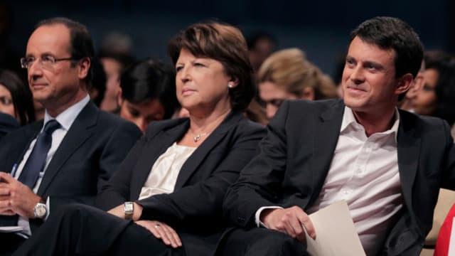 François Hollande, Martine Aubry et Manuel Valls lors de la primaire PS en 2011