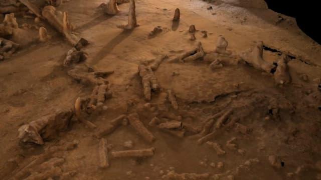 Les constructions de la grotte de Bruniquel.