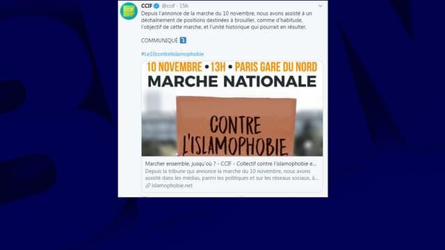 Le CCIF et d'autres initiateurs appellent à marcher dimanche 10 novembre 2019 contre l'islamophobie.