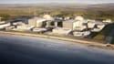 Sur cette image de synthèse,  a été matérialisé le projet Hinkley Point C évalué à 18 milliards de livres (environ 21,2 milliards d'euros) porté aux deux tiers par EDF avec le soutien du groupe chinois CGN.