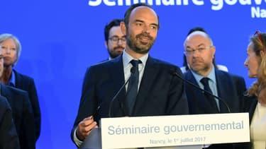 Le Premier ministre Edouard Philippe aux côtés des ministres, le 1er juillet 2017 à Nancy (Meurthe-et-Moselle).