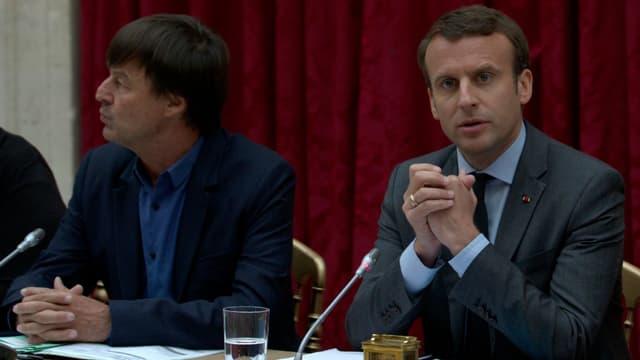 Nicolas Hulot et Emmanuel Macron le 6 juin 2017 à Paris.