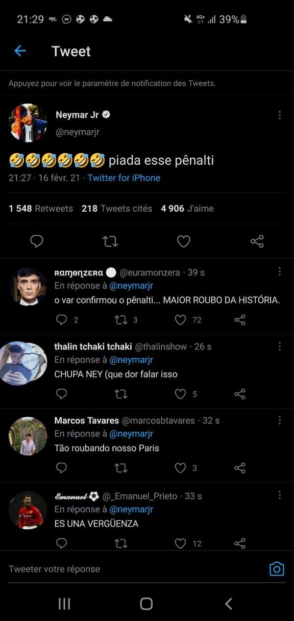 Le tweet de Neymar effacé pendant Barça-PSG, le 16 février 2021