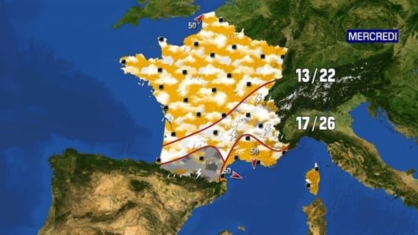 De pluies et des orages continueront de marquer le territoire, particulièrement sur les Pyrénées et la région lyonnaise