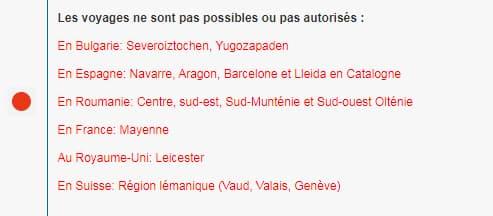 """Listes du 2 août 2020, des pays dans lesquels les """"voyages non essentiels"""" sont interdits par la Belgique"""
