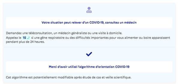 Capture d'écran www.gouvernement.fr/info-coronavirus/orientation-medicale