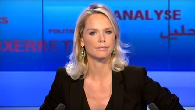 La journaliste Vanessa Burggraf sur le plateau de son émission Le Débat, sur France 24.