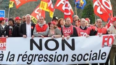 Les syndicats, lors de la manifestation du 1er mai.