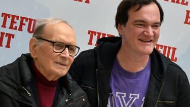 """Le compositeur Ennio Morricone et le réalisateur Quentin Tarantino à la première des """"Huits salopard"""", à Rome, en janvier 2016"""