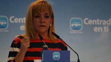 Isabel Carrasco, ici en mai 2011, a été abattue par balles le 12 mai 2014 à Leon, dans le Nord de l'Espagne.
