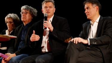 Eric Coquerel (LFI), Fabien Roussel (PCF) et Olivier Faure (PS) le 11 décembre 2019 à Saint-Denis