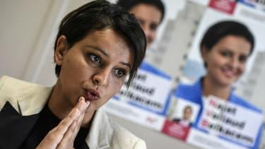 Najat Vallaud-Belkacem lors d'une conférence de presse, le 22 mai 2017 à Villeurbanne.