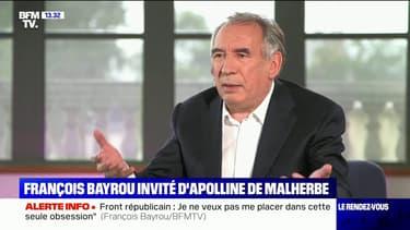 """François Bayrou: """"Passer sa vie dans l'obsession de Marine Le Pen ou de sa famille, ce n'est pas comme ça qu'on construit un pays"""""""