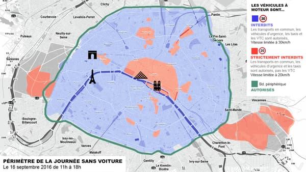 Journée sans voiture Paris carte