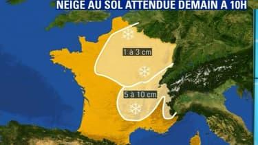 De la neige est attendue demain matin sur la moitié est du pays.
